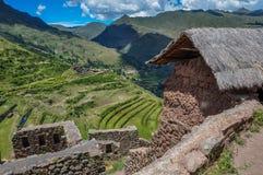 Pisac Incas fördärvar, den sakrala dalen, Peru Arkivbilder