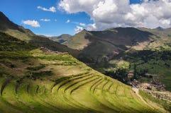 Pisac Incas fördärvar, den sakrala dalen, Peru Arkivfoto