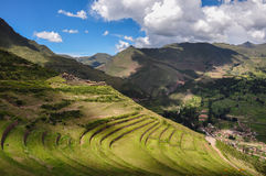 Pisac Incas ruins, Sacred Valley, Peru.  Stock Photo