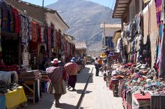 Pisac Market. Písac is a Peruvian village in the Sacred Valley on the Urubamba River. The village is well-known for its market Picture taken in Pisac Peru Stock Photography