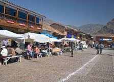 Pisac Market. Písac is a Peruvian village in the Sacred Valley on the Urubamba River. The village is well-known for its market Picture taken in Pisac Peru Royalty Free Stock Photography