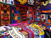 Pisac Market. Brightly colored woven textiles found for sale in the famous Pisac Market located in Pisac, Peru Stock Photography