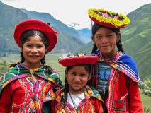 Children at Mirador Taray near Pisac in Peru Royalty Free Stock Photo