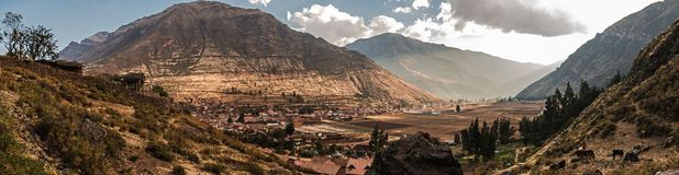 Pisac Panoramic view of the north zone in the inca`s sacret valley of Per stock image