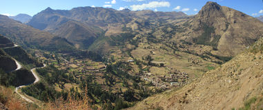 Pisac Peru. Panoramic view of the ruins of Pisac, in the incas Sacred Valey in peru Stock Images