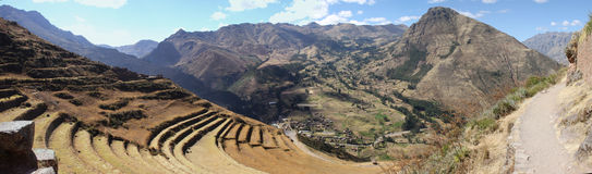 Pisac Peru. Panoramic view of the ruins of Pisac, in the incas Sacred Valey in peru Stock Photo