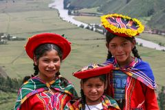 Pisac, Peru. Unidentified children at Mirador Taray near Pisac in Peru. Mirador Taray is a scenic vista along the highway overlooking Sacred Valley of the Incas Stock Image