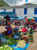Pisac, Peru. Unidentified people at the market in Pisac. It is a Peruvian village in the Sacred Valley. The village is well known for its market every Sunday Stock Images