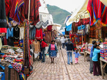 Pisac, Peru. Unidentified people on the street of Pisac. It is a Peruvian village in the Sacred Valley. The village is well known for its market every Sunday Stock Images