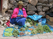 Pisac, Peru. Unidentified woman at the market in Pisac. It is a Peruvian village in the Sacred Valley. The village is well known for its market every Sunday Royalty Free Stock Photo