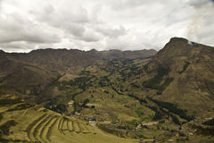 Pisac terraces in Cusco Royalty Free Stock Image