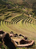 Pisac Ruins. Pisac, Peruvian Terraced Landscape in the Sacred Valley Royalty Free Stock Images