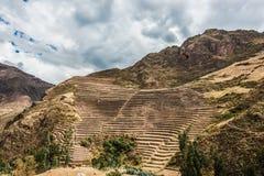 Pisac ruins peruvian Andes  Cuzco Peru Stock Image
