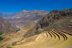 Pisac ruins, Sacred Valley, Cusco, Peru. A vital Inca road once snaked its way up the canyon that enters the Urubamba Valley at Pisac. The citadel, at the Royalty Free Stock Photos