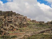 Pisaq考古学站点的细节,在印加人的神圣的谷 库存图片