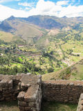 Pisaq考古学站点的细节,在印加人的神圣的谷 库存照片