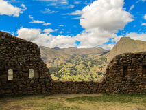 Pisaq考古学站点的细节,在印加人的神圣的谷 免版税库存图片