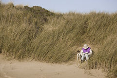 pisarz na plaży zdjęcia stock