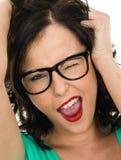 Pisc e gritaria insolentes da jovem mulher para fora Foto de Stock Royalty Free