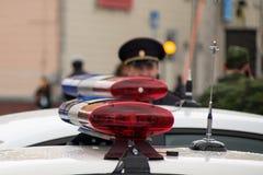 Pisca-pisca da polícia do russo Fotografia de Stock