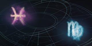 Pisces και Virgo συμβατότητα σημαδιών ωροσκοπίων Νυχτερινός ουρανός Abstra Στοκ εικόνες με δικαίωμα ελεύθερης χρήσης