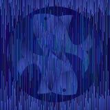 Pisces σημάδι αστρολογίας στο γεωμετρικό μοναδικό ύφος στα μαγικά σκούρο μπλε χρώματα Ψάρια μορφής λωρίδων ελεύθερη απεικόνιση δικαιώματος