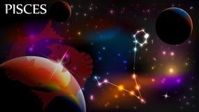 Pisces - астрологический космос знака и экземпляра Стоковые Фото