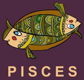 Pisces. Beautiful decoration zodiac sign Pisces Royalty Free Stock Photo