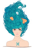 Pisces astrological sign as a beautiful girl. Royalty Free Stock Photos