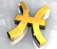 Pisces astrology symbol in gold (3d) Stock Photography