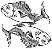 Pisces black white Stock Photos