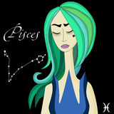 Pisces character with hornes. Stock Images