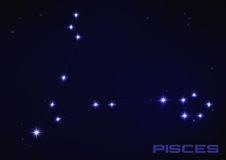 Pisces constellation. Vector illustration of Pisces constellation in blue Stock Photo