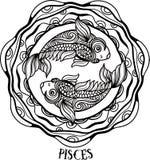 Pisces detalhados no estilo asteca Imagens de Stock