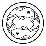 Pisces Fish Zodiac Horoscope Sign. A circular Pisces fish horoscope astrology zodiac sign icon Stock Photos