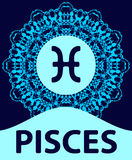 Pisces. Fish. Zodiac icon with mandala print. Vector illustration. Royalty Free Stock Photos