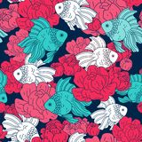 Pisces and flowers. Pattern. Fish. Seamless vector pattern with marine life Stock Photos