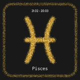 Pisces. Golden sign of zodiac, flat linear icons for horoscope, predictions. Royalty Free Stock Images