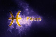 Pisces Horoscope Sign. Abstract night sky background. Horoscope Symbol and Text Royalty Free Stock Photo