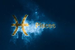 Pisces Horoscope Sign. Abstract night sky background. Horoscope Symbol and Text Stock Photos