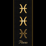 Pisces Horoscope Symbols. Golden embossed zodiac icons in three styles for the astrology Water Sign, Pisces, with textured black background Royalty Free Stock Images
