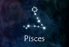Pisces horoscope or zodiac or constellation illustration.  Stock Photos
