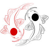 Pisces. Koi fish. Chinese carps hand drawn doodle. Ink sketch koi fish Royalty Free Stock Images