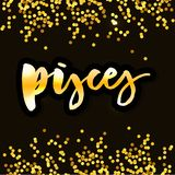 Pisces lettering Calligraphy Brush Text horoscope Zodiac sign illustration. Pisces lettering Calligraphy Brush Text horoscope Zodiac sign stock illustration
