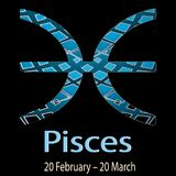 Pisces. Ornamental decorative vector Zodiac sign.  Astrological. Patterned Fishes zodiac symbol. Abstract modern background with dates, months, latin name text Stock Photo