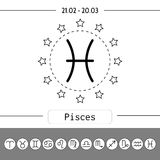 Pisces. Signs of zodiac, flat linear icons for horoscope, predictions. Royalty Free Stock Photos