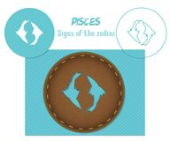 Pisces. Signs of the zodiac. Laser cutting. Can be applied to wood, metal, leather, paper, cardboard, plastic. World decor royalty free stock photo