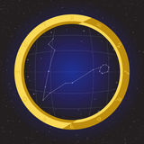 Pisces star horoscope zodiac in fish eye telescope with cosmos background. Pisces star horoscope zodiac in fish eye telescope golden ring frame with cosmos Stock Image