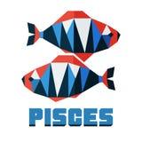 Pisces. Vector horoscope, polygonal flat zodiac sign, astrological sign. Horoscope, polygonal flat zodiac sign, astrological sign Royalty Free Stock Image