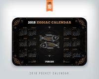 Pisces 2018 year zodiac calendar pocket size horizontal layout. Pisces 2018 year zodiac calendar pocket size horizontal layout Black color design style vector Stock Photography